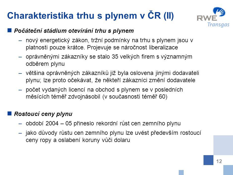 12 Charakteristika trhu s plynem v ČR (II) Počáteční stádium otevírání trhu s plynem –nový energetický zákon, tržní podmínky na trhu s plynem jsou v p