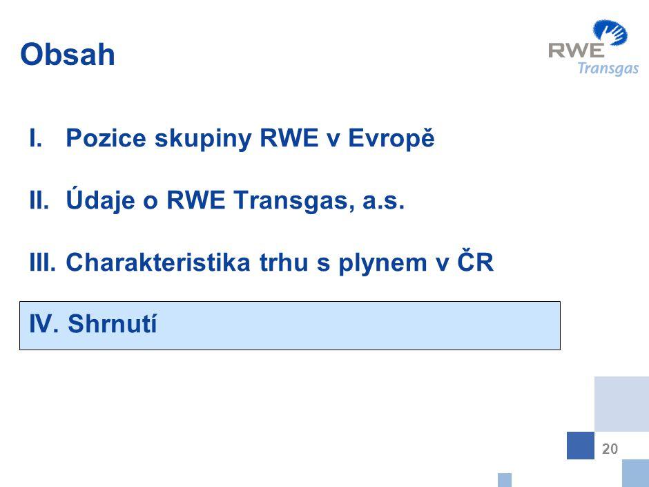 20 Obsah I. Pozice skupiny RWE v Evropě II. Údaje o RWE Transgas, a.s. III. Charakteristika trhu s plynem v ČR IV. Shrnutí
