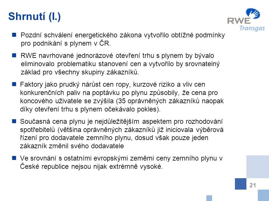 21 Shrnutí (I.) P ozdní schválení energetického zákona vytvořilo obtížné podmínky pro podnikání s plynem v ČR. R WE navrhované jednorázové otevření tr
