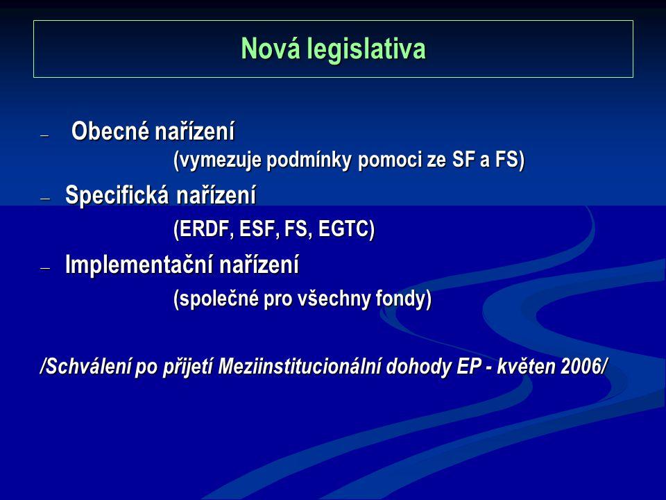 Nová legislativa  Obecné nařízení (vymezuje podmínky pomoci ze SF a FS)  Specifická nařízení (ERDF, ESF, FS, EGTC)  Implementační nařízení (společné pro všechny fondy) /Schválení po přijetí Meziinstitucionální dohody EP - květen 2006/