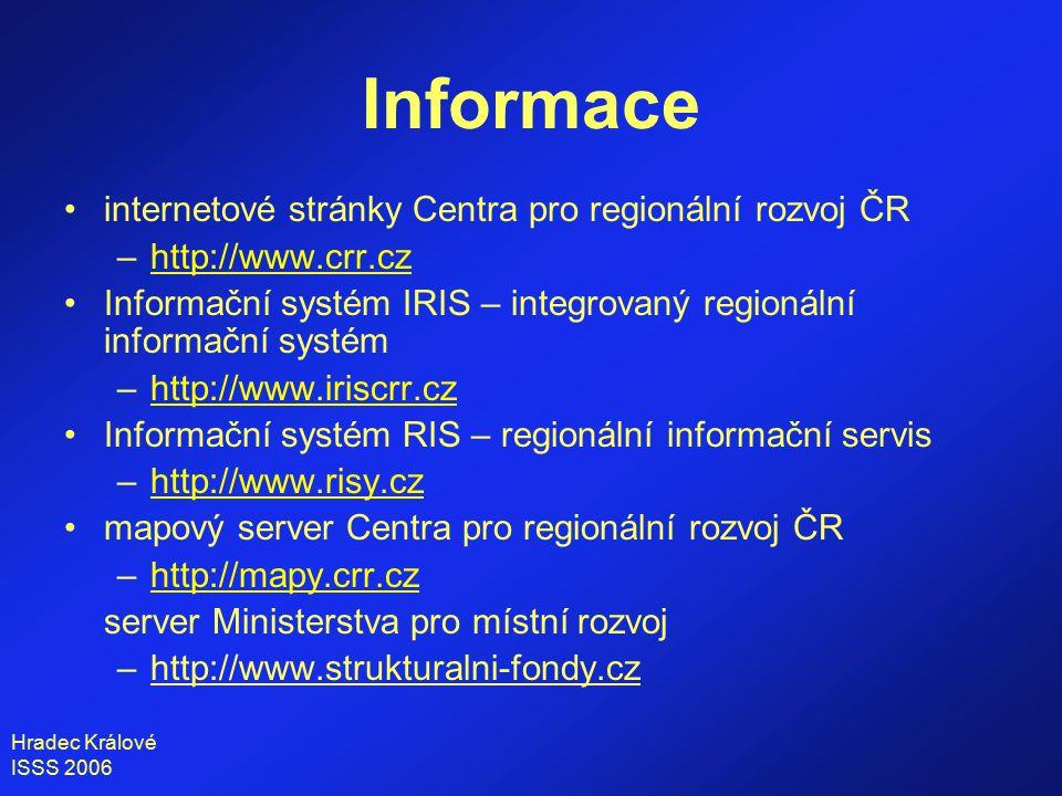 Hradec Králové ISSS 2006 internetové stránky Centra pro regionální rozvoj ČR –http://www.crr.czhttp://www.crr.cz Informační systém IRIS – integrovaný regionální informační systém –http://www.iriscrr.czhttp://www.iriscrr.cz Informační systém RIS – regionální informační servis –http://www.risy.czhttp://www.risy.cz mapový server Centra pro regionální rozvoj ČR –http://mapy.crr.czhttp://mapy.crr.cz server Ministerstva pro místní rozvoj –http://www.strukturalni-fondy.cz Informace