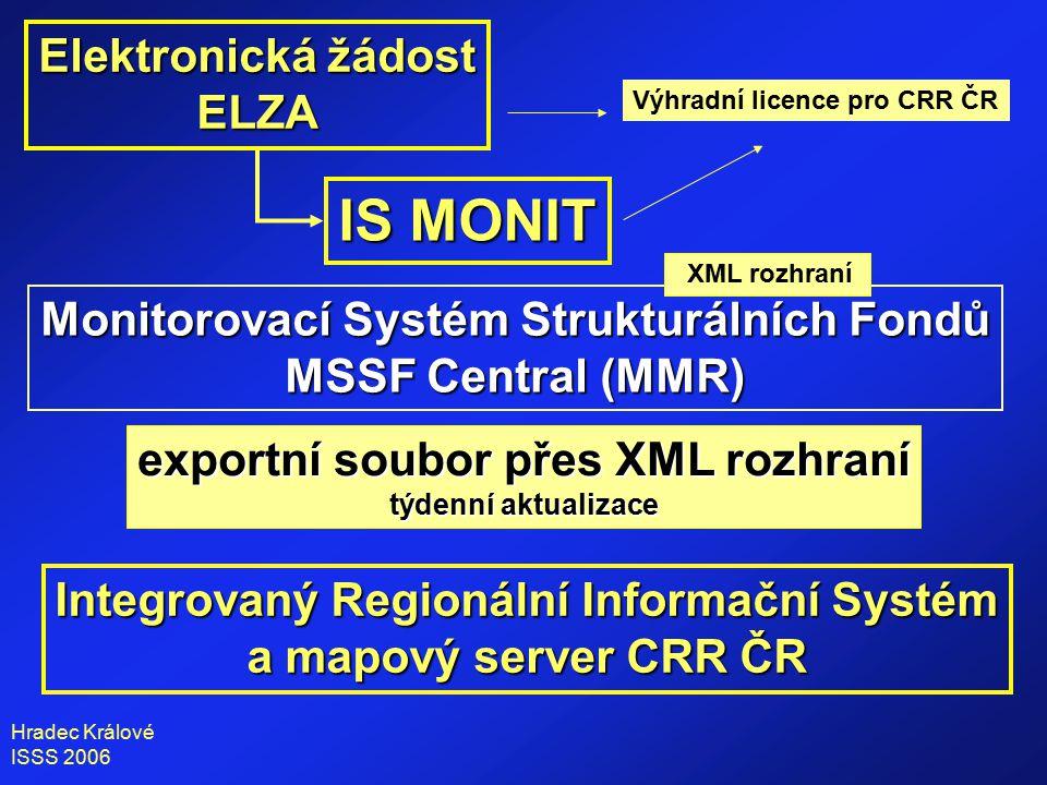 Hradec Králové ISSS 2006 Elektronická žádost ELZA IS MONIT Monitorovací Systém Strukturálních Fondů MSSF Central (MMR) exportní soubor přes XML rozhraní týdenní aktualizace Integrovaný Regionální Informační Systém a mapový server CRR ČR Výhradní licence pro CRR ČR XML rozhraní