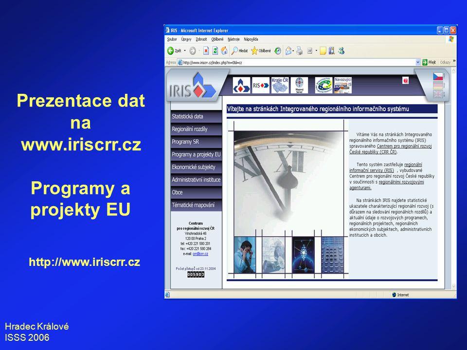 Hradec Králové ISSS 2006 Programy a projekty EU základní informace a výběrové šablony http://www.iriscrr.cz