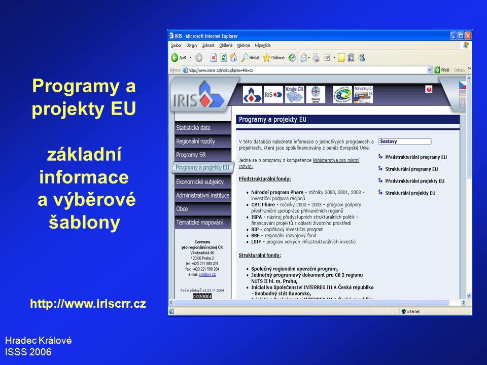 Hradec Králové ISSS 2006 Programy a projekty EU základní informace a výběrové šablony o programu http://www.iriscrr.cz