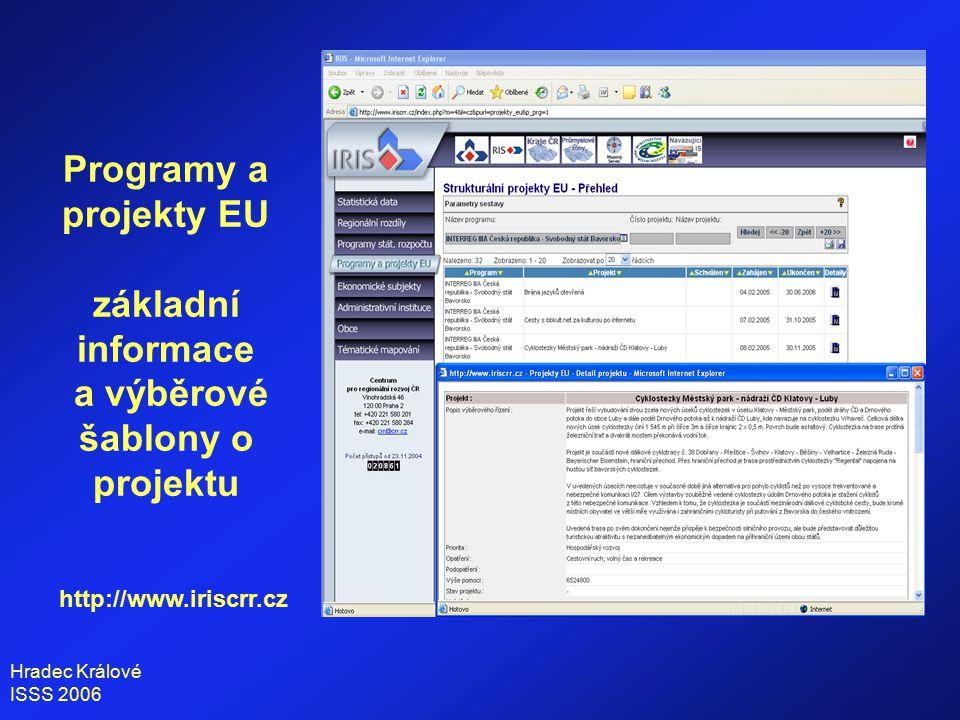 Hradec Králové ISSS 2006 Programy a projekty EU základní informace a výběrové šablony o projektu http://www.iriscrr.cz
