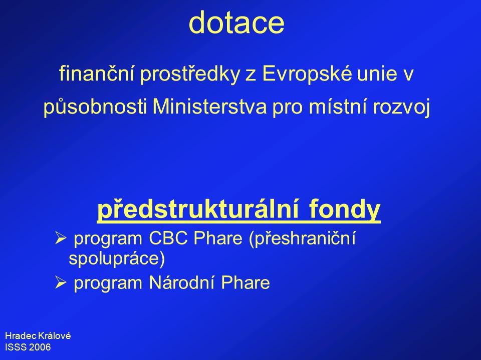 Hradec Králové ISSS 2006 dotace finanční prostředky z Evropské unie v působnosti Ministerstva pro místní rozvoj předstrukturální fondy  program CBC Phare (přeshraniční spolupráce)  program Národní Phare