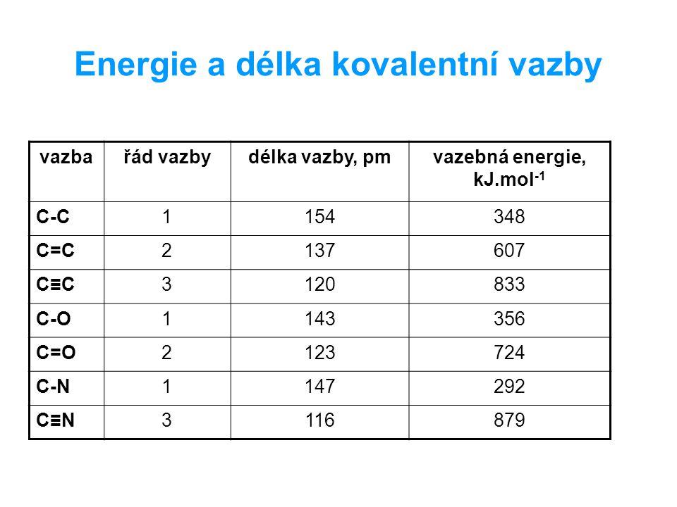 Energie a délka kovalentní vazby vazbařád vazbydélka vazby, pmvazebná energie, kJ.mol -1 C-C1154348 C=C2137607 C≡C3120833 C-O1143356 C=O2123724 C-N1147292 C≡N3116879