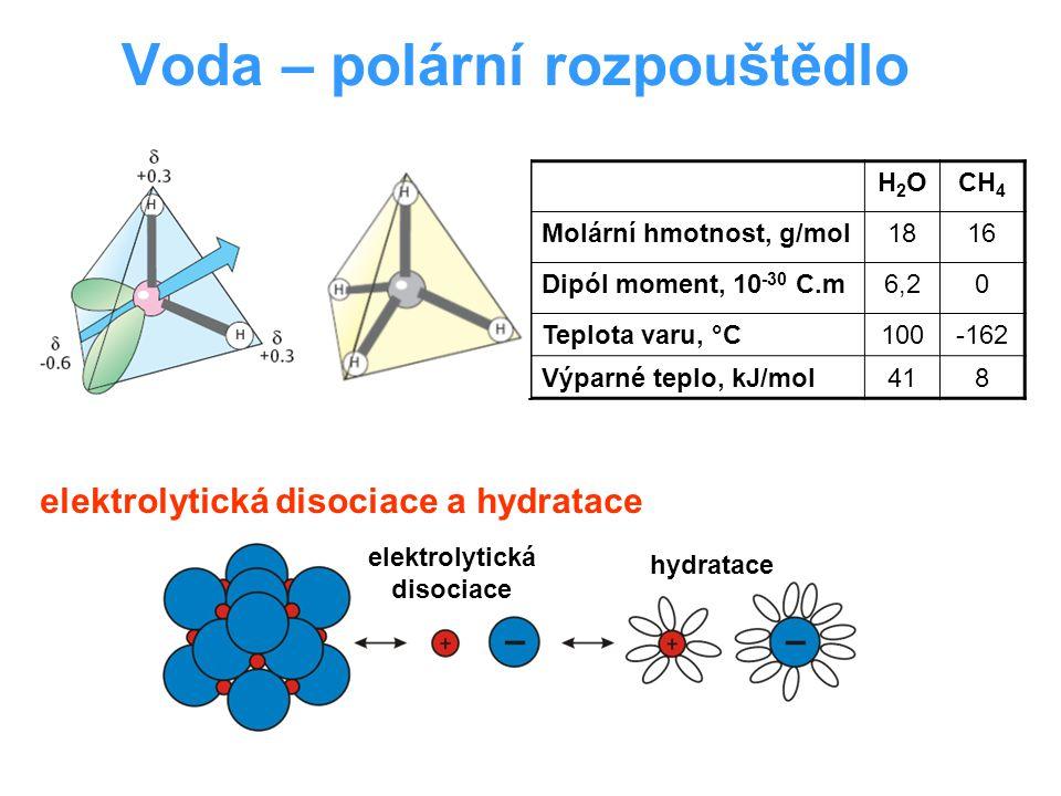 Voda – polární rozpouštědlo H2OH2OCH 4 Molární hmotnost, g/mol1816 Dipól moment, 10 -30 C.m6,20 Teplota varu, °C100-162 Výparné teplo, kJ/mol418 elektrolytická disociace a hydratace elektrolytická disociace hydratace