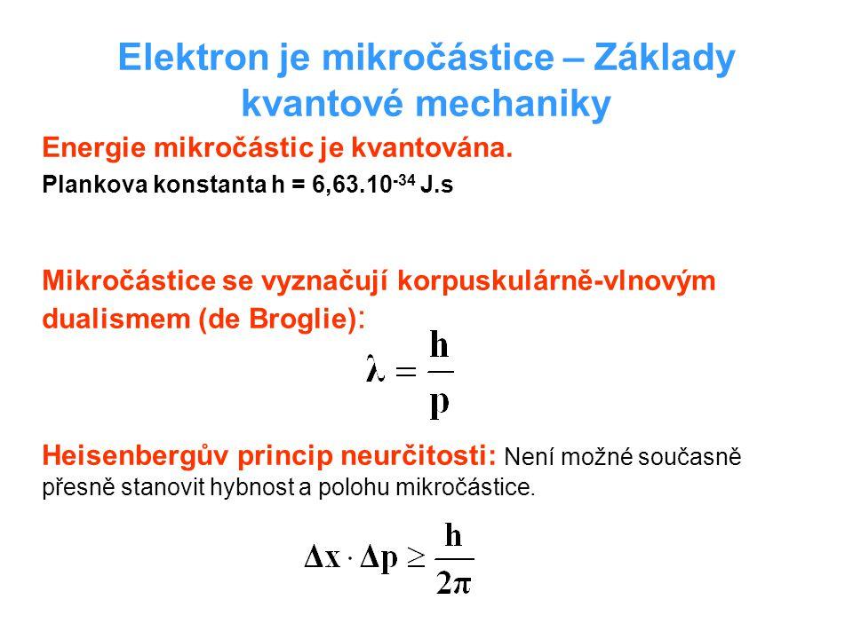 Elektron je mikročástice – Základy kvantové mechaniky Energie mikročástic je kvantována.