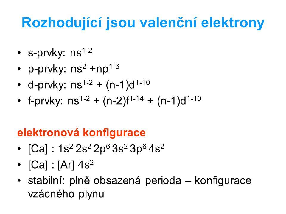Rozhodující jsou valenční elektrony s-prvky: ns 1-2 p-prvky: ns 2 +np 1-6 d-prvky: ns 1-2 + (n-1)d 1-10 f-prvky: ns 1-2 + (n-2)f 1-14 + (n-1)d 1-10 elektronová konfigurace [Ca] : 1s 2 2s 2 2p 6 3s 2 3p 6 4s 2 [Ca] : [Ar] 4s 2 stabilní: plně obsazená perioda – konfigurace vzácného plynu