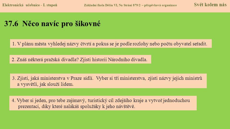 37.6 Něco navíc pro šikovné Elektronická učebnice - I. stupeň Základní škola Děčín VI, Na Stráni 879/2 – příspěvková organizace Svět kolem nás 4. Vybe