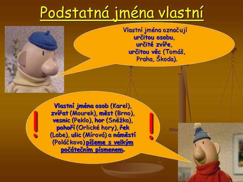 Podstatná jména vlastní Vlastní jména osob (Karel), zvířat (Mourek), měst (Brno), vesnic (Peklo), hor (Sněžka), pohoří (Orlické hory), řek (Labe), ulic (Mírová) a náměstí (Poláčkovo) píšeme s velkým počátečním písmenem.
