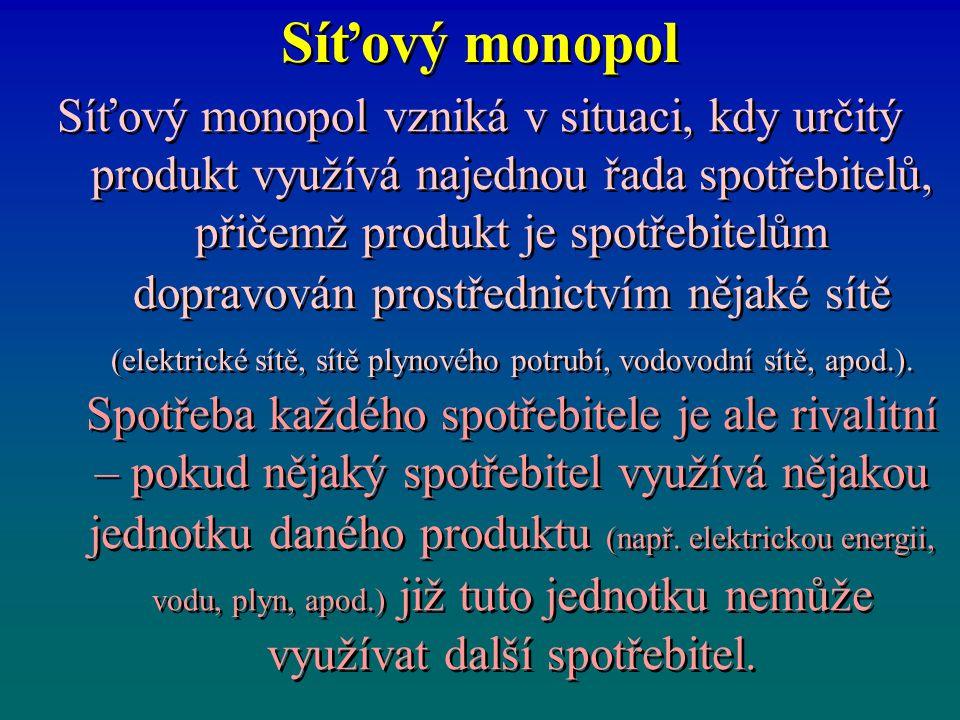 Síťový monopol Síťový monopol vzniká v situaci, kdy určitý produkt využívá najednou řada spotřebitelů, přičemž produkt je spotřebitelům dopravován pro