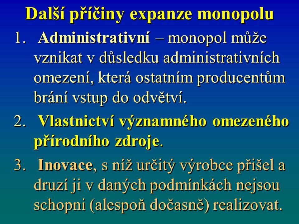 Další příčiny expanze monopolu 1. 1. Administrativní – monopol může vznikat v důsledku administrativních omezení, která ostatním producentům brání vst