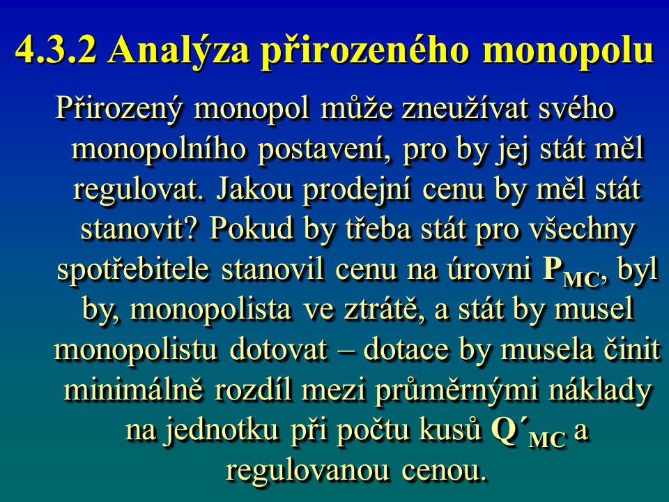 4.3.2 Analýza přirozeného monopolu Svým způsobem optimální by byla cena P AC, kdy monopol produkuje Q´ AC statků.