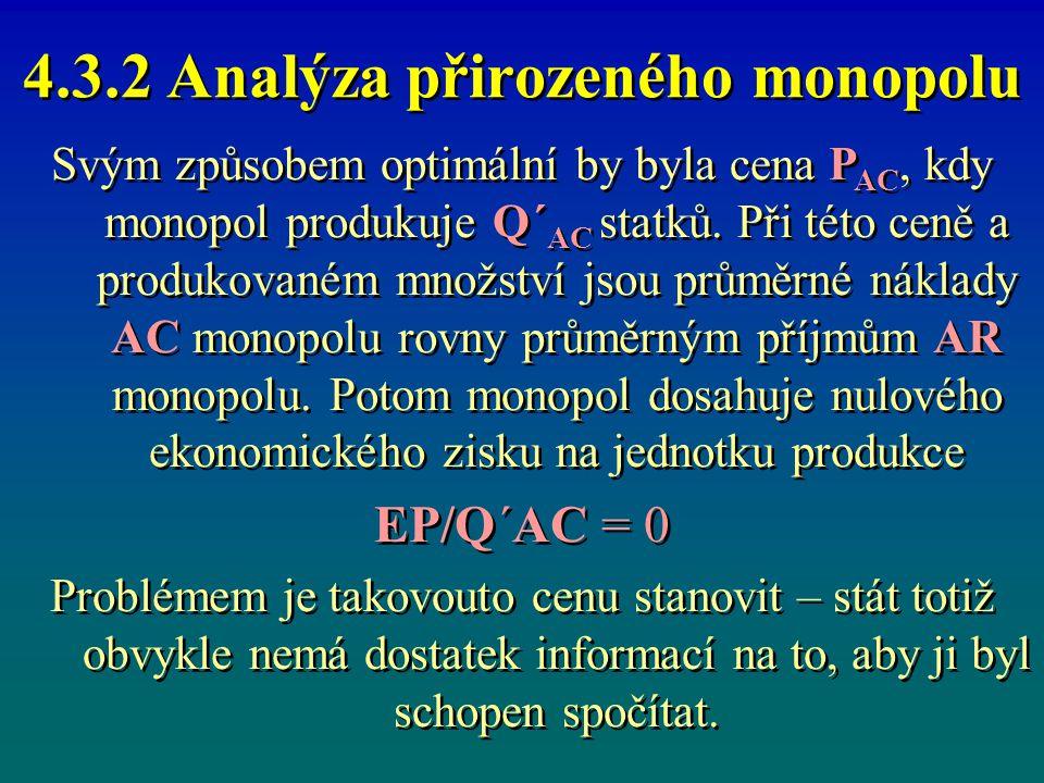 4.3.2 Analýza přirozeného monopolu Svým způsobem optimální by byla cena P AC, kdy monopol produkuje Q´ AC statků. Při této ceně a produkovaném množstv