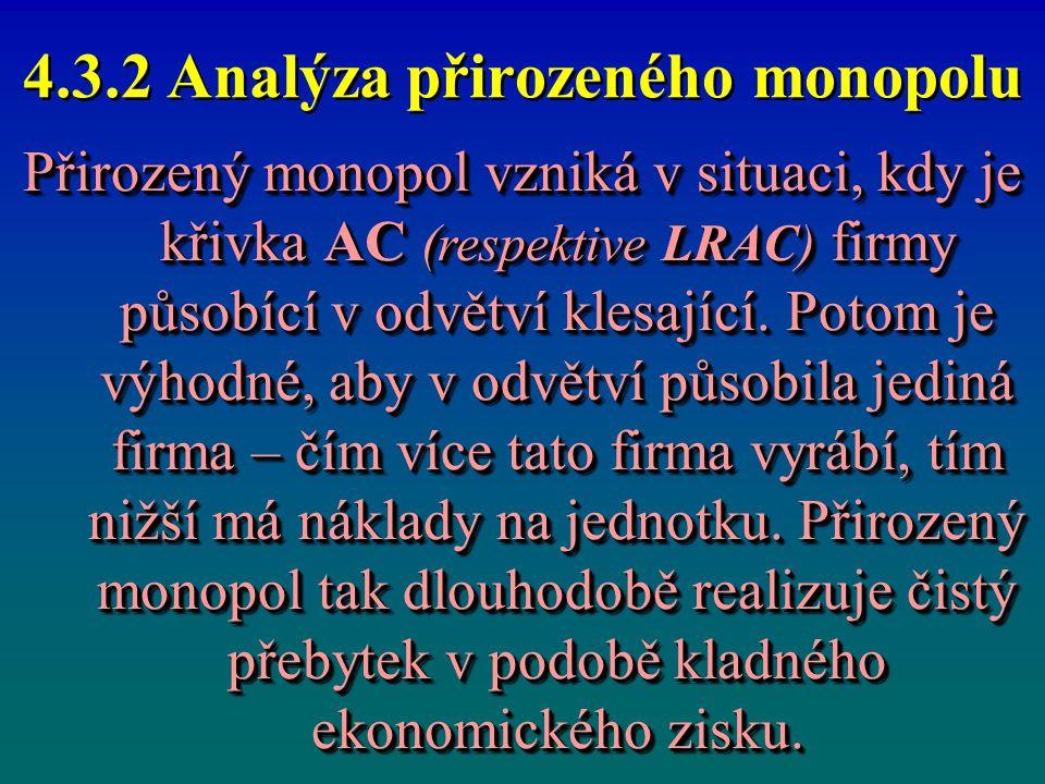 4.3.2 Analýza přirozeného monopolu Přirozený monopol vzniká v situaci, kdy je křivka AC (respektive LRAC) firmy působící v odvětví klesající. Potom je