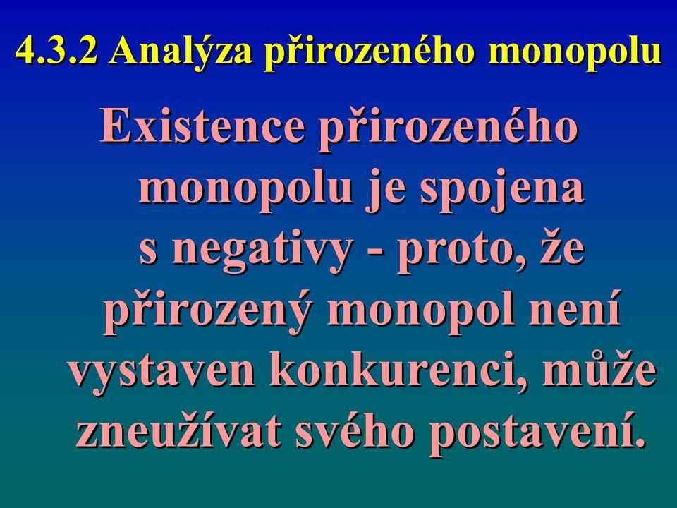4.3.2 Analýza přirozeného monopolu Existence přirozeného monopolu je spojena s negativy - proto, že přirozený monopol není vystaven konkurenci, může z