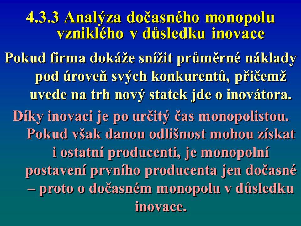 4.3.3 Analýza dočasného monopolu vzniklého v důsledku inovace Pokud firma dokáže snížit průměrné náklady pod úroveň svých konkurentů, přičemž uvede na