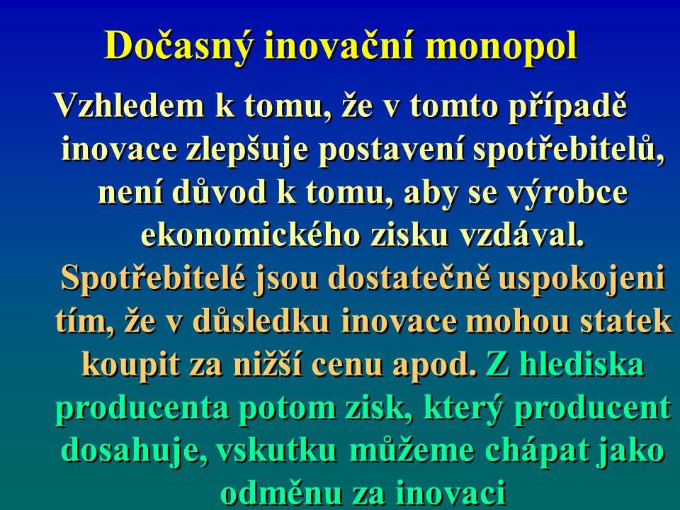 Dočasný inovační monopol Vzhledem k tomu, že v tomto případě inovace zlepšuje postavení spotřebitelů, není důvod k tomu, aby se výrobce ekonomického z