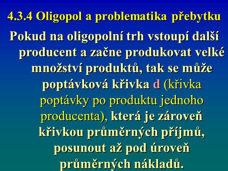 4.3.4 Oligopol a problematika přebytku Vstup nového producenta často způsobí, že alespoň u některých producentů bude rozdíl průměrné příjmy AR mínus průměrné náklady AC pro každou velikost produkce záporný, oligopolisté tak budou dosahovat záporného ekonomického zisku tj.