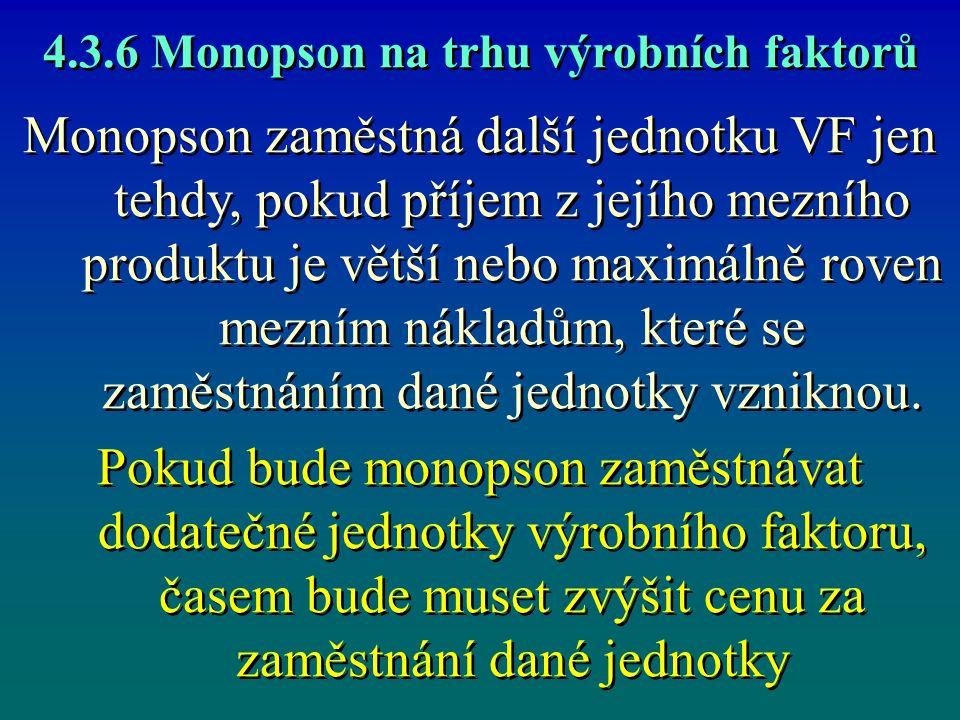 4.3.6 Monopson na trhu výrobních faktorů Monopson zaměstná další jednotku VF jen tehdy, pokud příjem z jejího mezního produktu je větší nebo maximálně