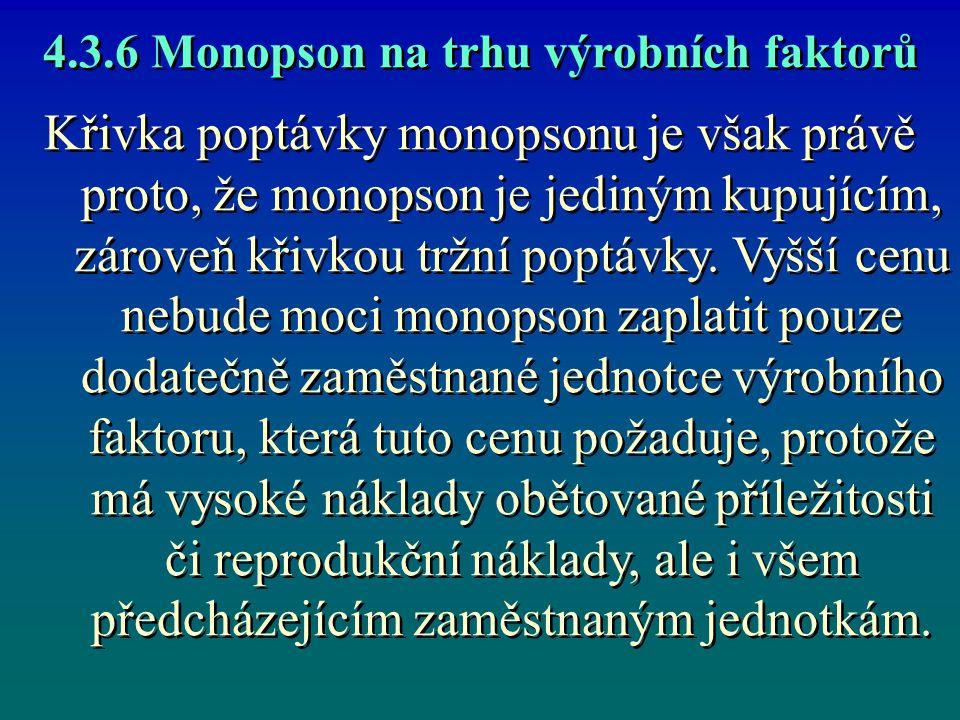 4.3.6 Monopson na trhu výrobních faktorů Křivka poptávky monopsonu je však právě proto, že monopson je jediným kupujícím, zároveň křivkou tržní poptáv