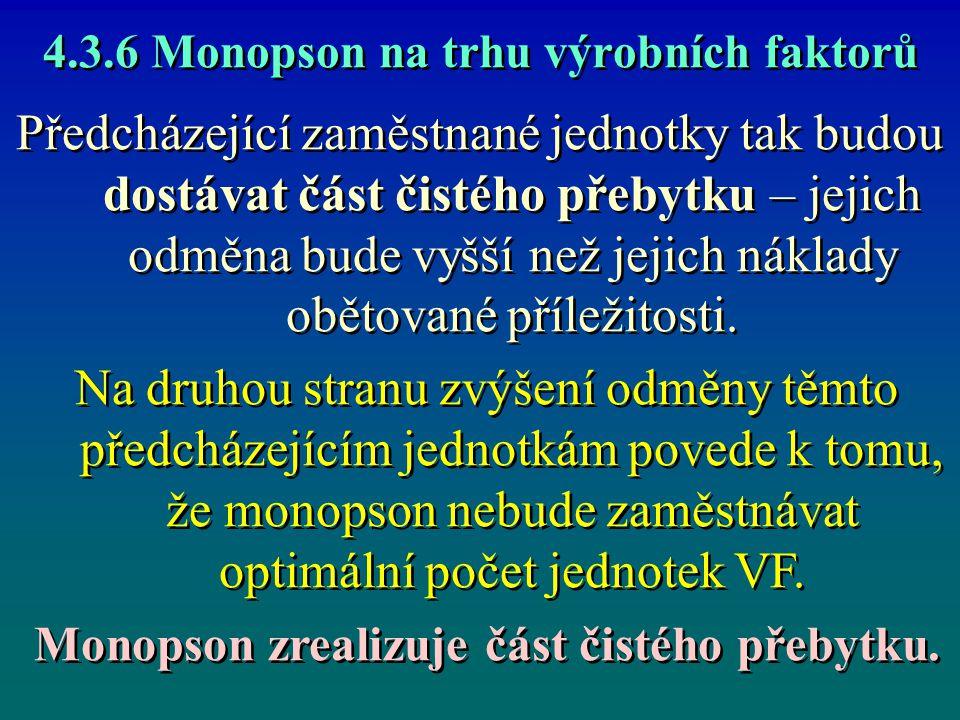Monopson na trhu výrobních faktorů Monopsonu se vyplatí zaměstnat právě 12 jednotek daného VF.