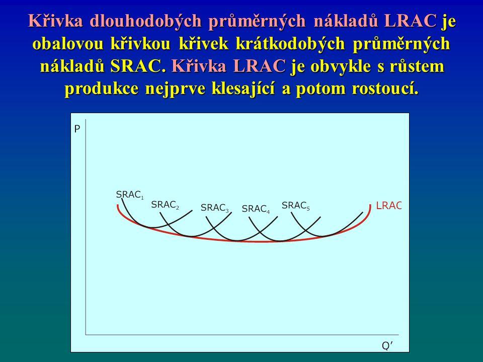 Křivka dlouhodobých průměrných nákladů LRAC je obalovou křivkou křivek krátkodobých průměrných nákladů SRAC. Křivka LRAC je obvykle s růstem produkce