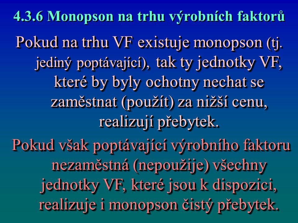 4.3.6 Monopson na trhu výrobních faktorů Pokud na trhu VF existuje monopson (tj. jediný poptávající), tak ty jednotky VF, které by byly ochotny nechat