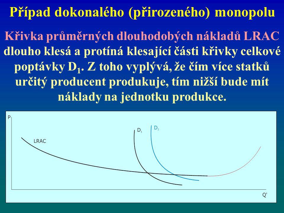 Případ dokonalého (přirozeného) monopolu Křivka průměrných dlouhodobých nákladů LRAC dlouho klesá a protíná klesající části křivky celkové poptávky D