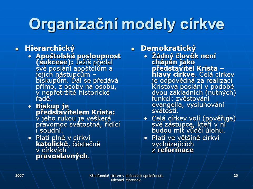2007 Křesťanské církve v občanské společnosti. Michael Martinek. 20 Organizační modely církve Hierarchický Hierarchický Apoštolská posloupnost (sukces