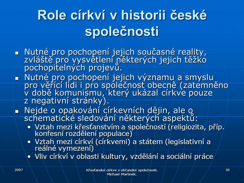 2007 Křesťanské církve v občanské společnosti. Michael Martinek. 30 Role církví v historii české společnosti Nutné pro pochopení jejich současné reali