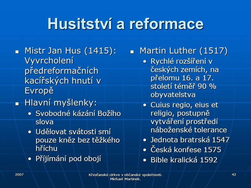 2007 Křesťanské církve v občanské společnosti. Michael Martinek. 42 Husitství a reformace Mistr Jan Hus (1415): Vyvrcholení předreformačních kacířskýc
