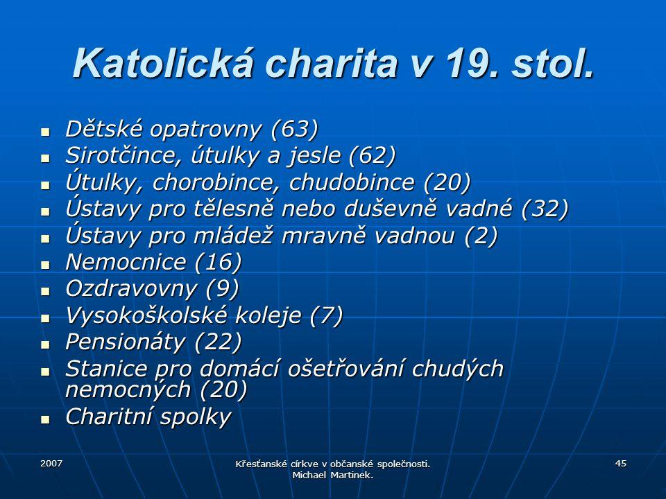 2007 Křesťanské církve v občanské společnosti. Michael Martinek. 45 Katolická charita v 19. stol. Dětské opatrovny (63) Dětské opatrovny (63) Sirotčin