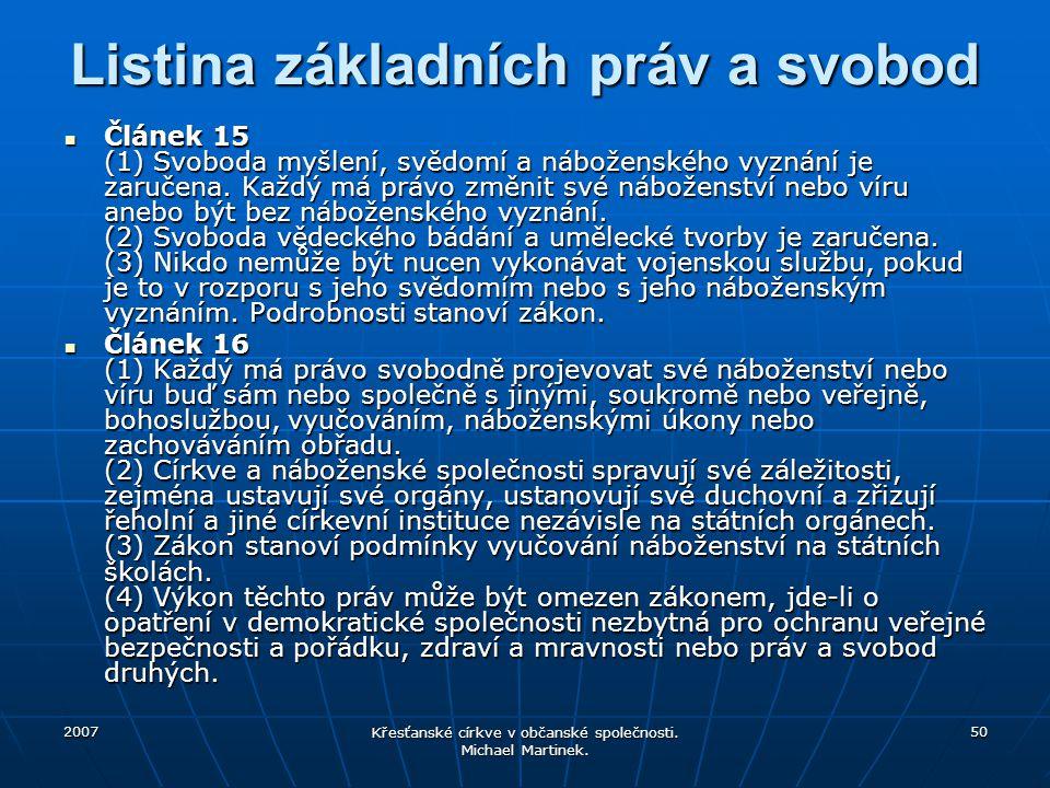 2007 Křesťanské církve v občanské společnosti. Michael Martinek. 50 Listina základních práv a svobod Článek 15 (1) Svoboda myšlení, svědomí a nábožens