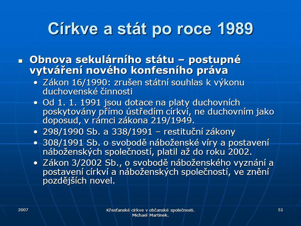 2007 Křesťanské církve v občanské společnosti. Michael Martinek. 51 Církve a stát po roce 1989 Obnova sekulárního státu – postupné vytváření nového ko