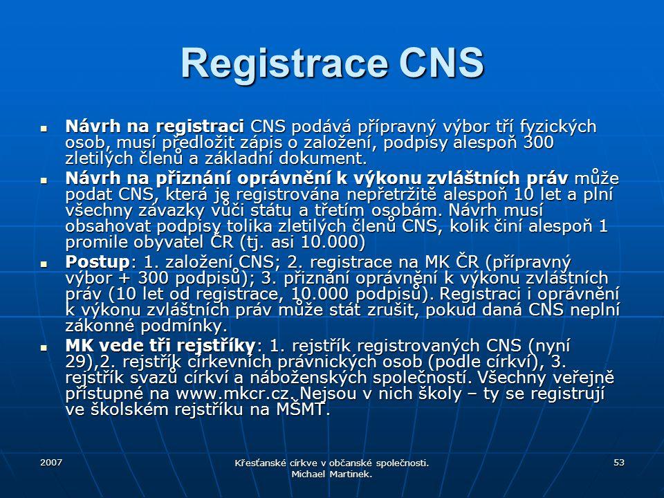 2007 Křesťanské církve v občanské společnosti. Michael Martinek. 53 Registrace CNS Návrh na registraci CNS podává přípravný výbor tří fyzických osob,