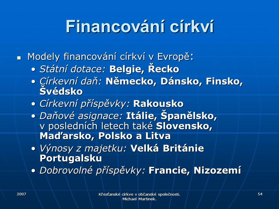 2007 Křesťanské církve v občanské společnosti. Michael Martinek. 54 Financování církví Modely financování církví v Evropě : Modely financování církví