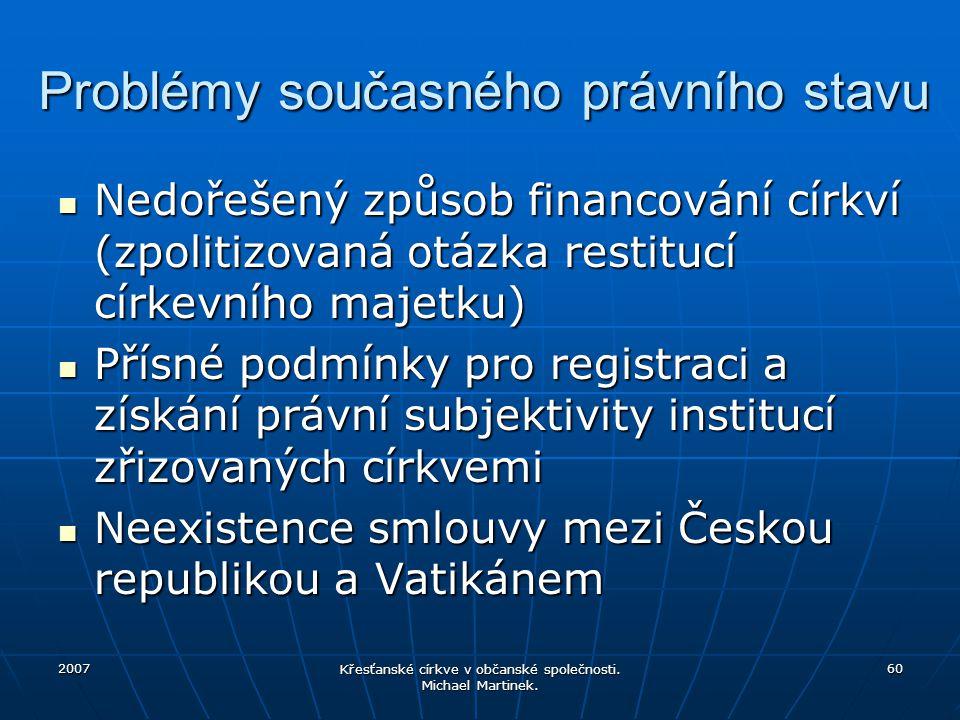 2007 Křesťanské církve v občanské společnosti. Michael Martinek. 60 Problémy současného právního stavu Nedořešený způsob financování církví (zpolitizo