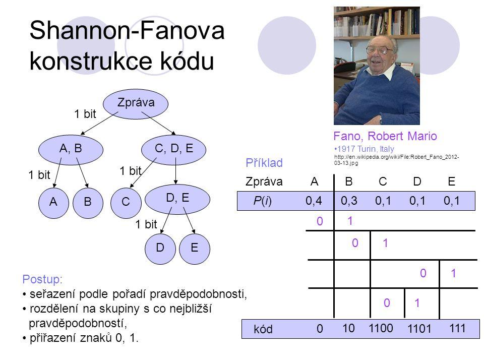 Shannon-Fanova konstrukce kódu Postup: seřazení podle pořadí pravděpodobnosti, rozdělení na skupiny s co nejbližší pravděpodobností, přiřazení znaků 0, 1.