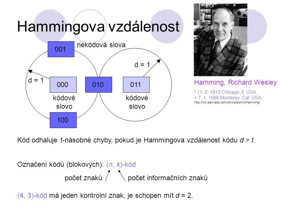 011 d = 1 Hammingova vzdálenost 000010100001 d = 1 nekódová slova kódové slovo Hamming, Richard Wesley * 11.