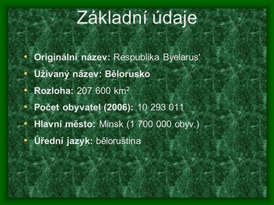 Základní údaje Originální název: Respublika Byelarus' Užívaný název: Bělorusko Rozloha: 207 600 km 2 Počet obyvatel (2006): 10 293 011 Hlavní město: M
