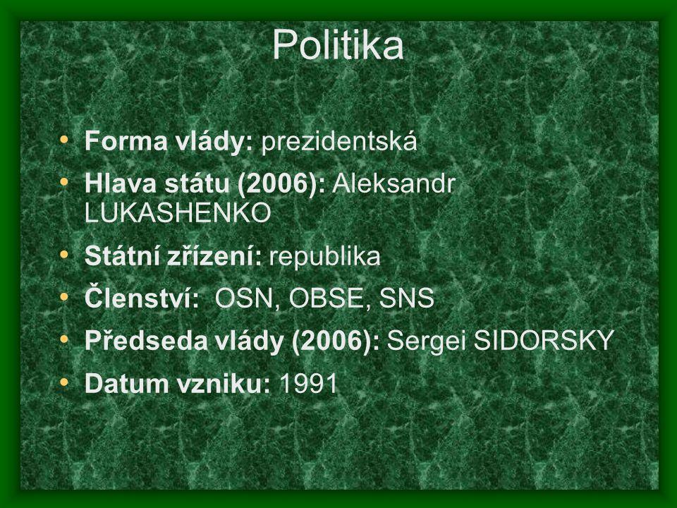 Politika Forma vlády: prezidentská Hlava státu (2006): Aleksandr LUKASHENKO Státní zřízení: republika Členství: OSN, OBSE, SNS Předseda vlády (2006):