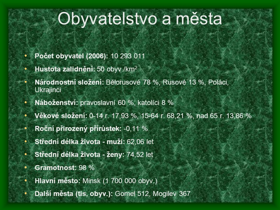Obyvatelstvo a města Počet obyvatel (2006): 10 293 011 Hustota zalidnění: 50 obyv./km 2 Národnostní složení: Bělorusové 78 %, Rusové 13 %, Poláci, Ukr