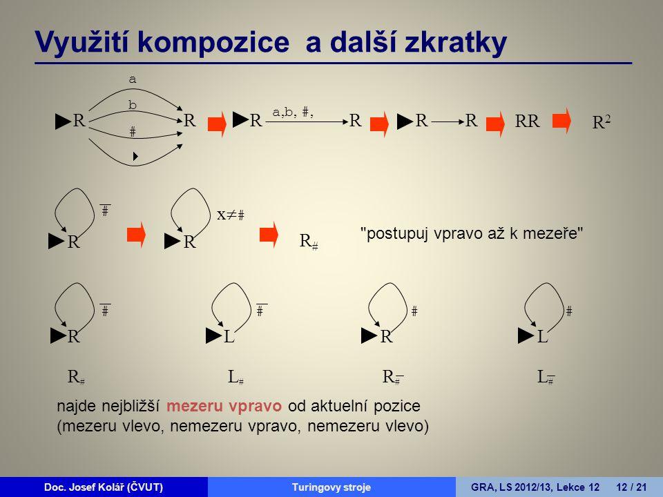 Doc. Josef Kolář (ČVUT)Prohledávání grafůGRA, LS 2010/11, Lekce 4 12 / 15Doc. Josef Kolář (ČVUT)Turingovy strojeGRA, LS 2012/13, Lekce 12 12 / 21 Využ