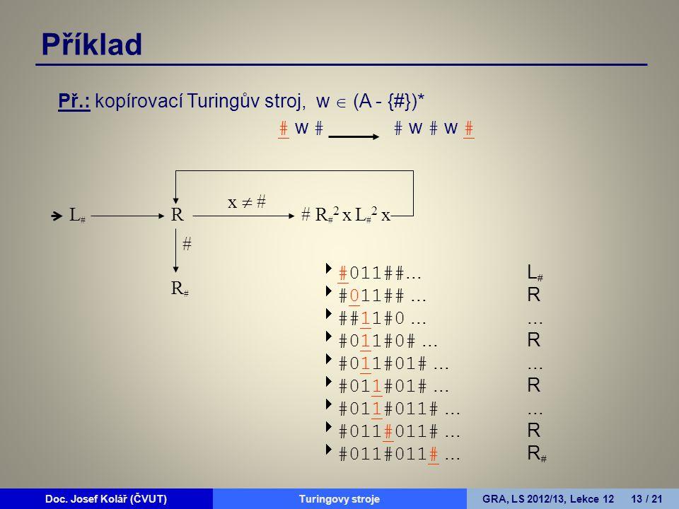 Doc. Josef Kolář (ČVUT)Prohledávání grafůGRA, LS 2010/11, Lekce 4 13 / 15Doc. Josef Kolář (ČVUT)Turingovy strojeGRA, LS 2012/13, Lekce 12 13 / 21 Př.: