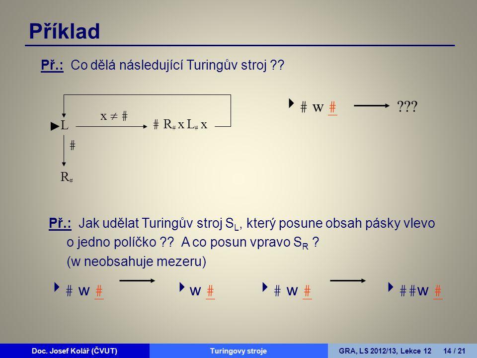 Doc. Josef Kolář (ČVUT)Prohledávání grafůGRA, LS 2010/11, Lekce 4 14 / 15Doc. Josef Kolář (ČVUT)Turingovy strojeGRA, LS 2012/13, Lekce 12 14 / 21 Př.: