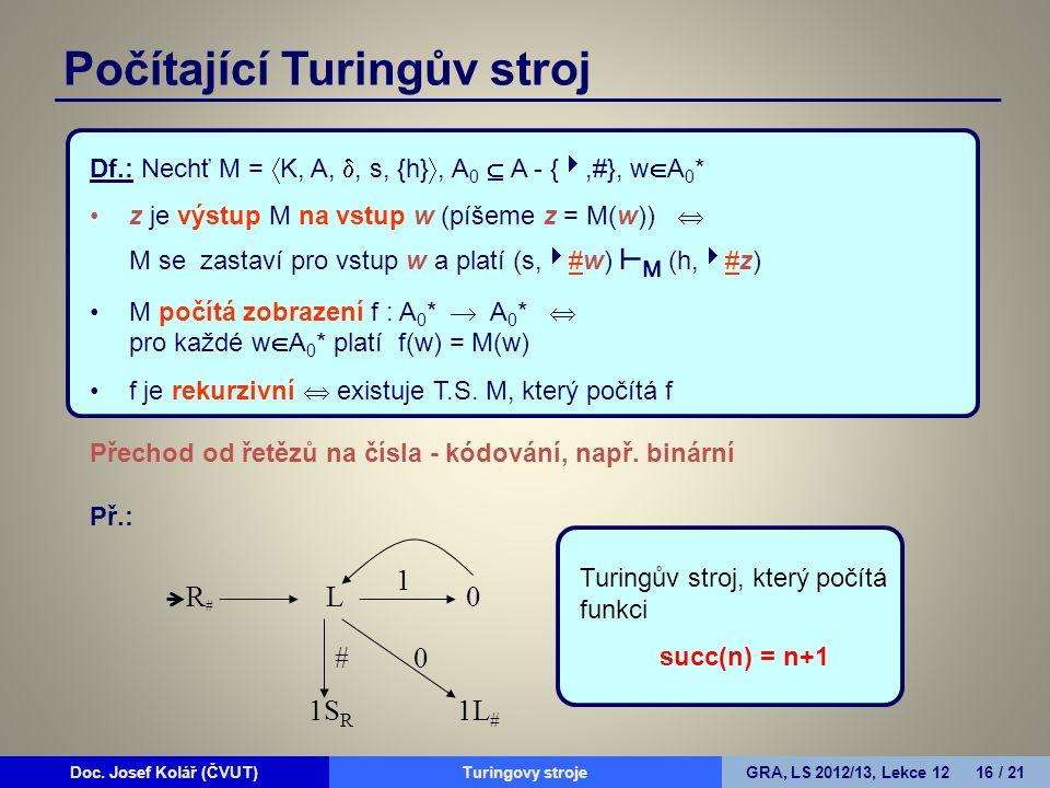 Doc. Josef Kolář (ČVUT)Prohledávání grafůGRA, LS 2010/11, Lekce 4 16 / 15Doc. Josef Kolář (ČVUT)Turingovy strojeGRA, LS 2012/13, Lekce 12 16 / 21 Df.: