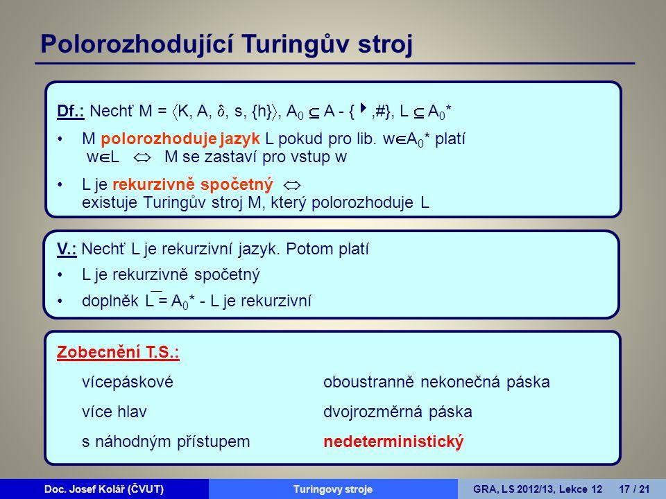 Doc. Josef Kolář (ČVUT)Prohledávání grafůGRA, LS 2010/11, Lekce 4 17 / 15Doc. Josef Kolář (ČVUT)Turingovy strojeGRA, LS 2012/13, Lekce 12 17 / 21 Df.: